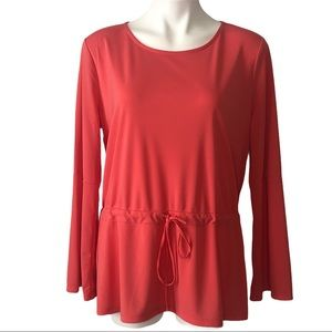 Ann Taylor Coral Long Sleeve Top Drawstring Waist